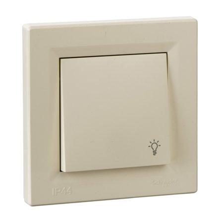Tlačítko světlo IP44 s rámečkem, krémová Schneider Electric Asfora EPH0900223