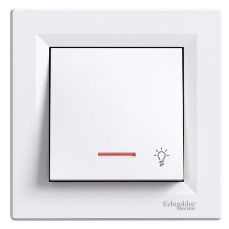 Tlačítko světlo s podsvícením a rámečkem, bílá Schneider Electric Asfora EPH1800121