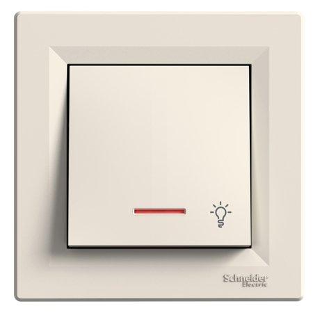 Tlačítko světlo s podsvícením a rámečkem, krémová Schneider Electric Asfora EPH1800123