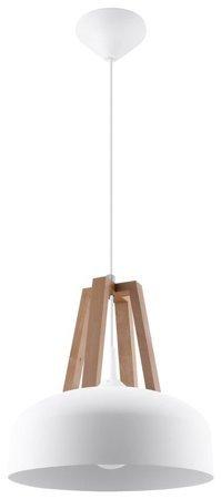 Visící lampa CASCO bílá/přírodní dřevo 1xE27 Sollux SL.0388