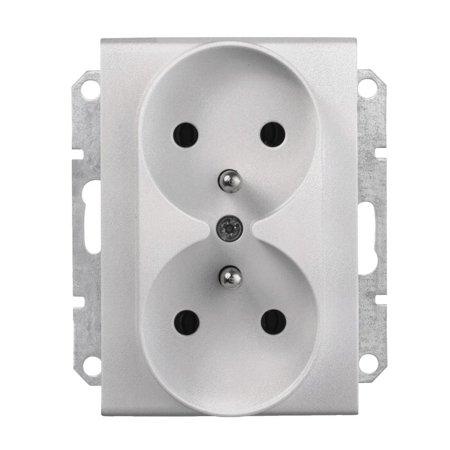 Zásuvka 2 x 2P+PEdorámečkového systému hliník Sedna SDN2801960 Schneider Electric
