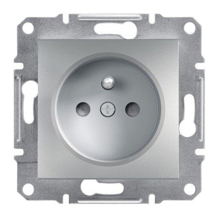Zásuvka 2P+PE s clonami bez rámečku, hliník Schneider Electric Asfora EPH2800261