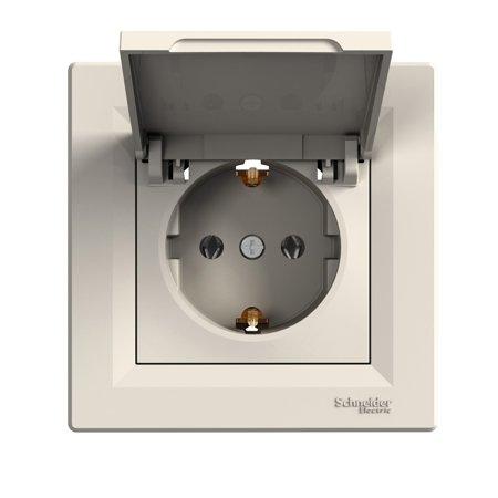 Zásuvka 2p+PE s krytem, krémová Schneider Electric Asfora EPH3100123
