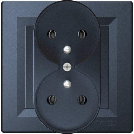 Zásuvka 2x2P+PE do rámečkového systému s rámečkem, antracit Schneider Electric Asfora EPH9811271