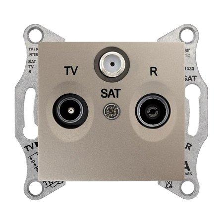 Zásuvka R/TV/SAT průchozí 4dB saténová Sedna SDN3501468 Schneider Electric