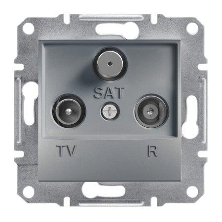 Zásuvka R-TV-SAT průchozí (8dB) bez rámečku, ocel Schneider Electric Asfora EPH3500362