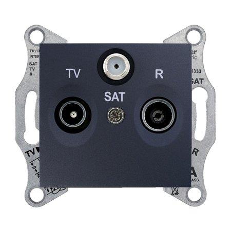 Zásuvka R/TV/SAT průchozí 8dB, grafitová Sedna SDN3501270 Schneider Electric