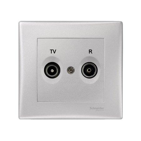 Zásuvka R/TV koncová hliník s rámečkem Sedna SDN3301760 Schneider Electric