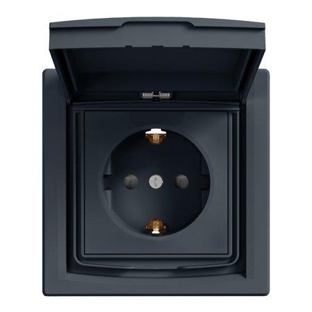 Zásuvka SCHUKO IP44 s rámečkem (1-násobná), antracit Schneider Electric Asfora EPH3100371