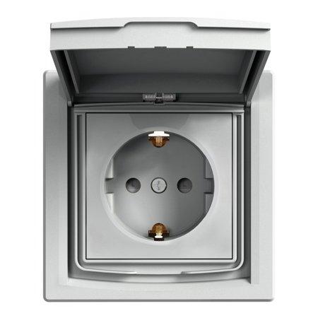 Zásuvka SCHUKO IP44 s rámečkem (1-násobná), hliník Schneider Electric Asfora EPH3100361