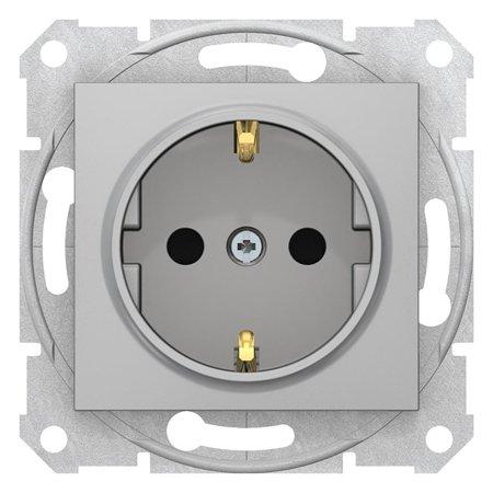 Zásuvka SCHUKO s clonami hliník Sedna SDN3001760 Schneider Electric