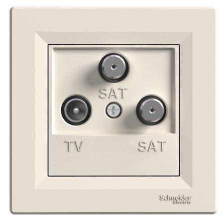 Zásuvka TV-SAT-SAT koncová (1dB) s rámečkem, krémová Schneider Electric Asfora EPH3600123