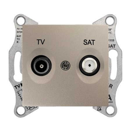 Zásuvka TV/SAT průchozí 4dB saténová Sedna SDN3401968 Schneider Electric
