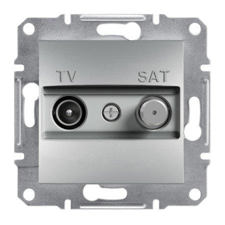 Zásuvka TV-SAT průchozí (8dB) bez rámečku, hliník Schneider Electric Asfora EPH3400361
