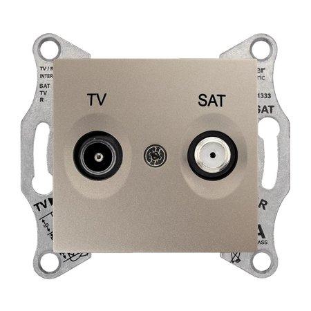 Zásuvka TV/SAT průchozí 8dB saténová Sedna SDN3401268 Schneider Electric