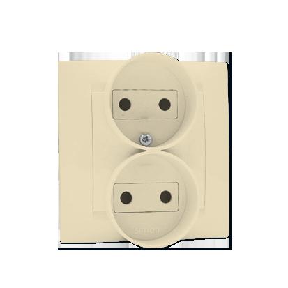 Zásuvka dvojitá bez uzemnění šroubové koncovky, béžová Kontakt Simon 1591457-031