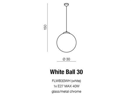 Závěsná stropní lampa White Ball 30 bílá Azzardo AZ2516